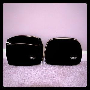 2 Chanel Parfums Black Gold Makeup Cosmetic Bags